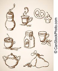 hand drawn vintage coffee icons - set of vector hand drawn ...
