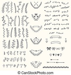 Hand Drawn vintage floral elements. Handsketched vector design e