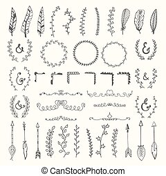 Hand drawn vintage floral elements. Weddings, Valentines day, birthday, design templates, invitations. Handsketched romantic vector design elements