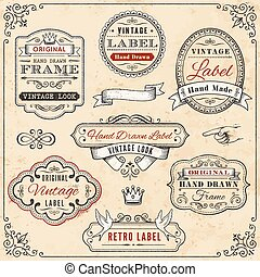 Illustration of seven hand-drawn vintage labels against a weathered, cream-colored background, bordered with a vintage design