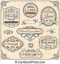 Hand drawn vintage framed label templates
