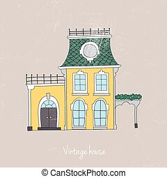 Hand drawn vintage homes. Vector illustration.