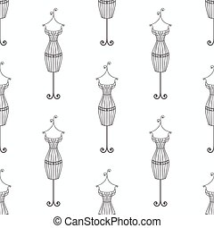 Hand drawn vintage iron mannequin seamless pattern. Doodle...