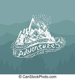 Hand-Drawn vintage lettering label with mountains, forest...