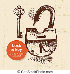 Hand drawn vintage lock and key banner