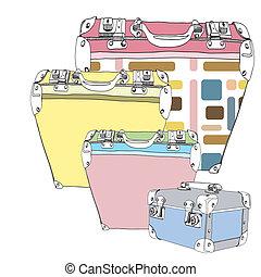 Hand drawn vintage luggage set
