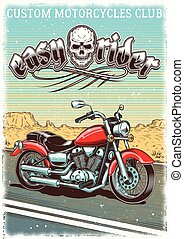 Hand-drawn vintage motorcycle on the grunge background