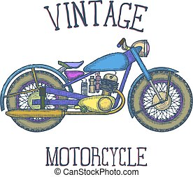 Hand Drawn Vintage Motorcycle vector logo design template. bikeshop or motorcycle service icon. Vector