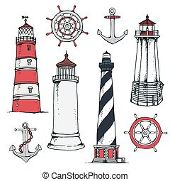 Hand drawn vintage nautical set
