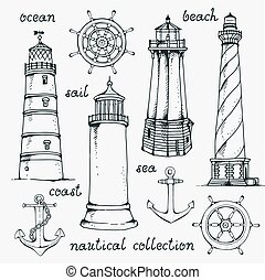 Hand drawn vintage nautical set, vector illustration