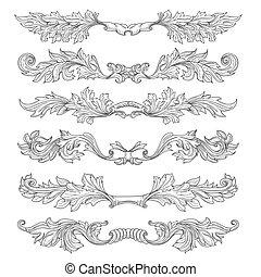 Retro simple scroll page dividers. vector vintage ...