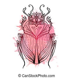 Hand drawn vintage scarab with red watercolor splashes. Insect with doodle pattern. Vector element for tattoo sketch, printing on T-shirts, postcards and your design