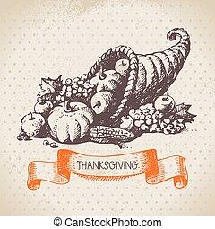 Hand drawn vintage Thanksgiving Day background