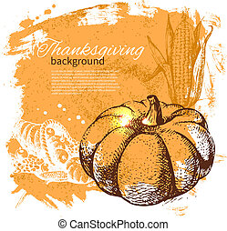 Hand drawn vintage Thanksgiving Day background