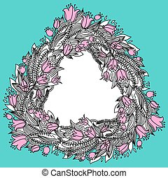 Hand drawn vintage wreath with flowers