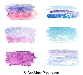 Hand drawn violet and blue watercolor banners set. Grunge...