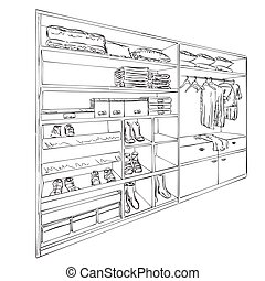 Hand drawn wardrobe sketch. Clothes and shoes.