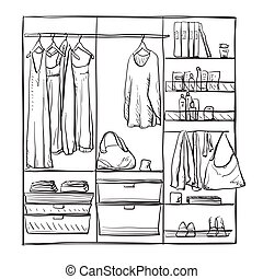 Hand drawn wardrobe sketch. Furniture.
