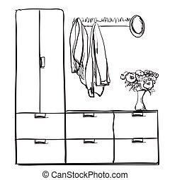 Hand drawn wardrobe sketch with clothes. Hall interior.
