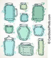 Hand drawn water jars set