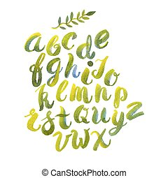 Hand drawn watercolor alphabet made with brush-shades and smears of spring leaves and flowers