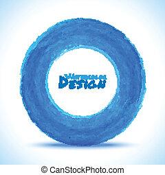 Hand drawn watercolor blue circle