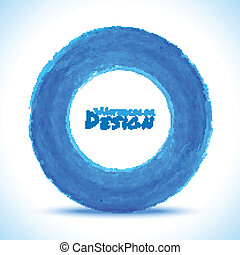 Hand drawn watercolor blue circle, vector design element