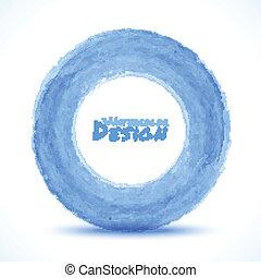 Hand drawn watercolor blue light circle