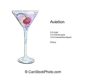 hand drawn watercolor cocktail Aviation on white background