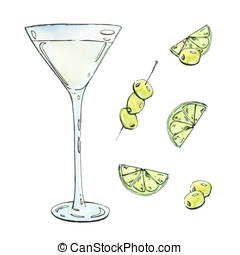 hand drawn watercolor cocktail with lime and olives on white...