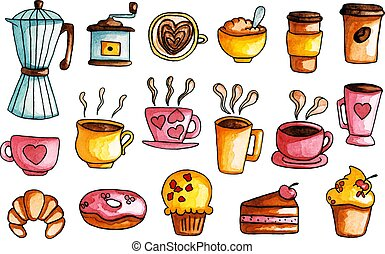 Hand Drawn Watercolor, Coffee Illustrations Set