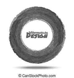 Hand drawn watercolor dark gray circle, vector design ...