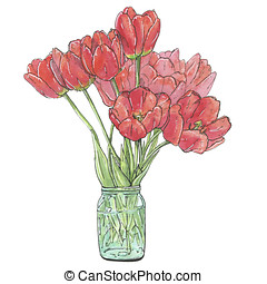 Hand Drawn Watercolor Flower Tulips On White Background