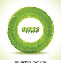Hand drawn watercolor green circle, vector design element
