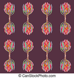 Hand-drawn watercolor illustration of red protea flower pattern