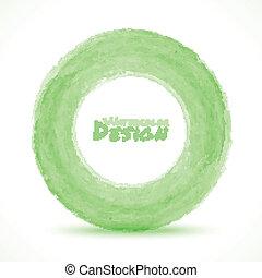 Hand drawn watercolor light green circle, vector design ...
