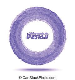 Hand drawn watercolor light violet circle, vector design ...