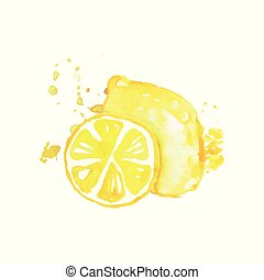 Hand drawn watercolor painting of whole and slice of lemon. Citrus fruit. Organic and tasty food. Healthy nutrition. Vector design for product label or packing sweets