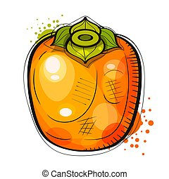 Hand Drawn Watercolor Painting On White Background. Illustration Of Fruit Persimmon . Suitable For Greeting Card, Poster Or T-shirt Printing.