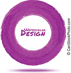 Hand drawn watercolor purple circle, vector design element