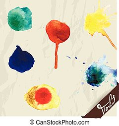 Hand drawn watercolor splashes set.