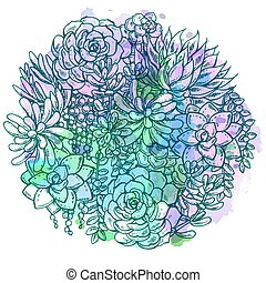 Hand drawn watercolor succulent bouquet. - Hand drawn...