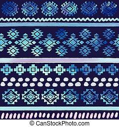 Hand drawn Watercolor tribal seamless pattern