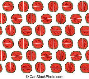 hand drawn watermelon cartoon pattern seamless background