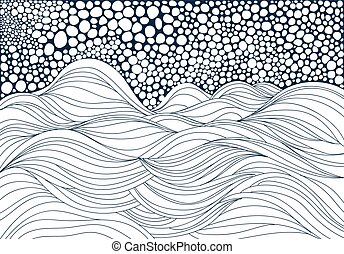 Hand drawn waves and foam. Doodle illustration.