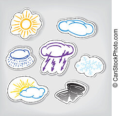 Hand-drawn weather color icons set
