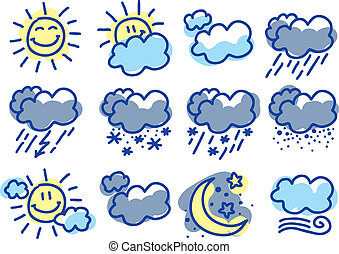 hand drawn weather symbols on white background
