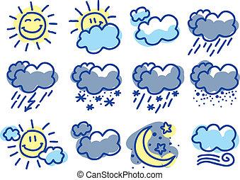 weather symbols - hand drawn weather symbols on white ...