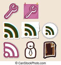 Hand drawn web emblems set. Isolated