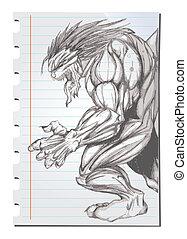 Hand drawn Werewolf